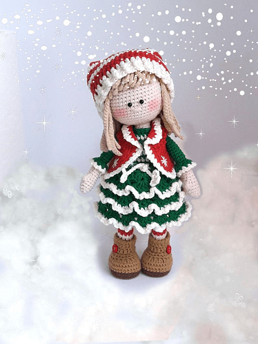 Crochet Christmas Doll Pattern by Knit A Miracle