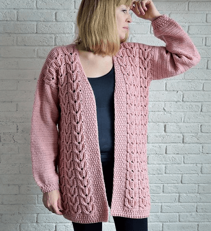 Crochet Chunky Cabled Cardigan Pattern by Kseniya Design