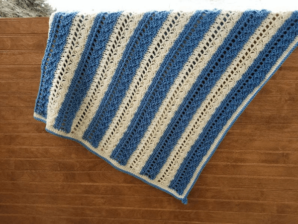 Crochet Denim And Ivory Lap Blanket Pattern by Highland Hickory Dsgns