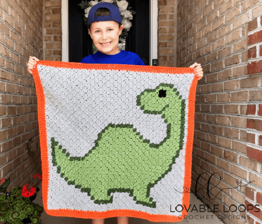 Afghan Free Crochet Dinosaur Blanket Pattern by Lovable Loops