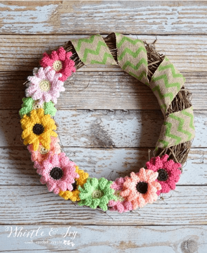 Crochet Gerbera Daisy Wreath Pattern by Whistle And Ivy