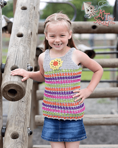 Crochet Girls Top Pattern by KT And The Squid