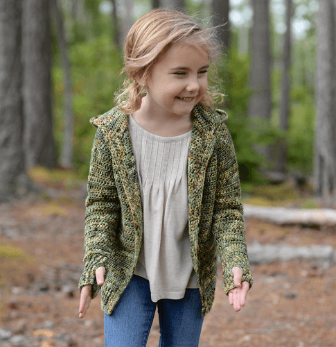 Crochet Hooded Cardigan Pattern by The Velvet Acorn