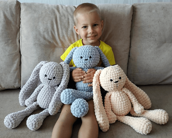 Crochet Large Bunny Plush Pattern by Plushi Co