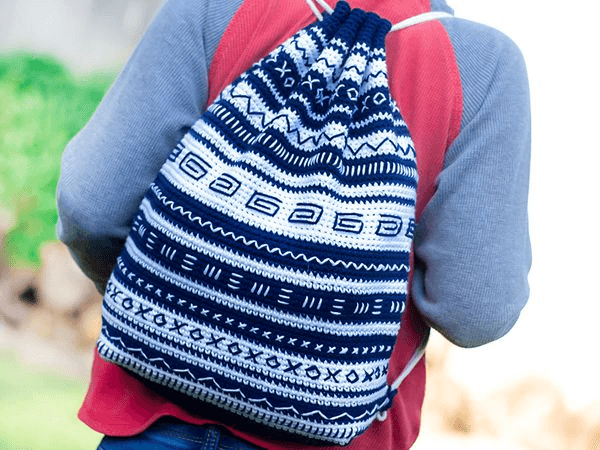 Crochet Mudcloth Backpack Pattern by Yarn And Chai