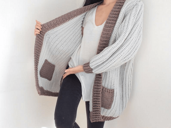Crochet Reversible Cardigan With Pockets Pattern by TCCDIY
