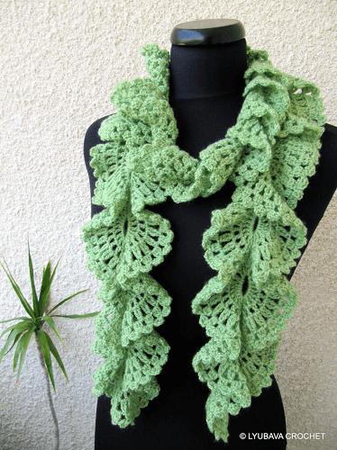 Crochet Ruffle Scarf Pattern by Lyubava Crochet