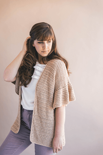 Crochet Ruffle Sleeve Cardigan Pattern by Sewrella