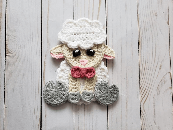 Crochet Sheep Applique Pattern by The Yarn Conspiracy