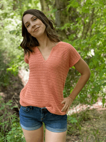 Crochet Summer Tee Top Pattern by Evelyn And Peter