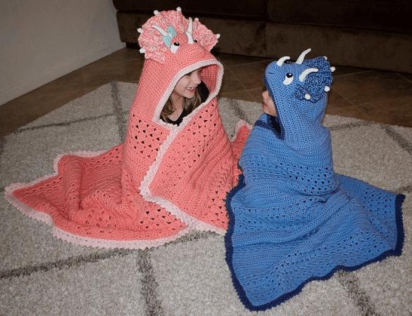 Triceratops Dinosaur Hooded Blanket Crochet Pattern by Bri Abby HMA