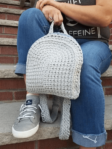 Crochet T-shirt Yarn Backpack Pattern by Knitz N Purlz