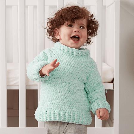 Crochet Velvet Baby Sweater Pattern by Yarnspirations