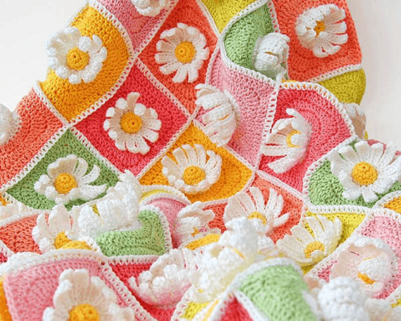 Daisy Baby Blanket Crochet Pattern by Dada's Place