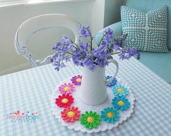 Daisy Table Mat Crochet Pattern by Kerry Jayne Designs