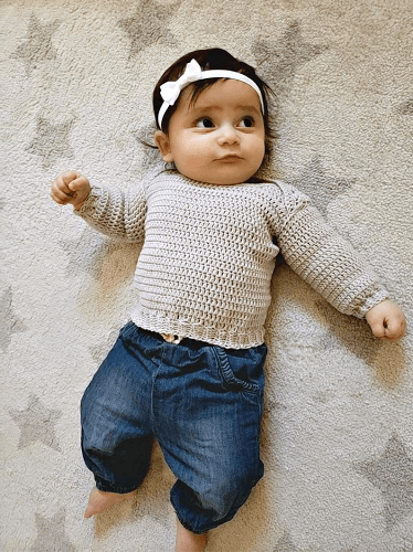 Easy Crochet Baby Sweater Pattern by The Snugglery Patterns
