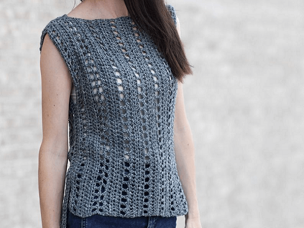 Easy Sleeveless Crochet Top Pattern by Mama In A Stitch