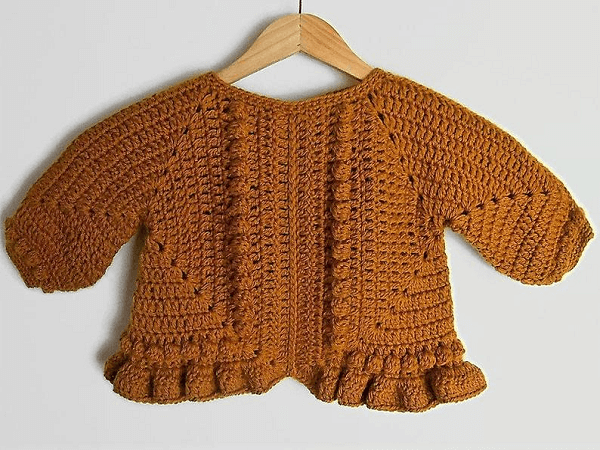 Granny Square Crochet Baby Sweater Pattern by Is Woolish