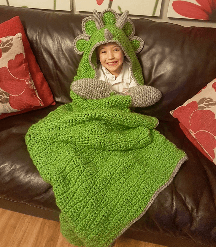 Dinosaur Hooded Blanket Crochet Pattern by Crafting Happiness UK