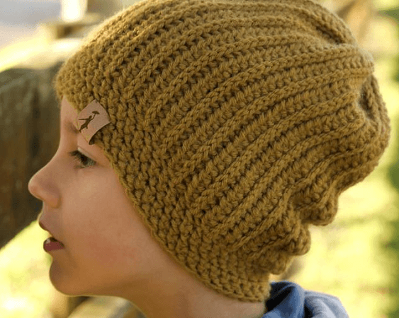 Knit Look Slouchy Beanie Crochet Pattern by Inventorium