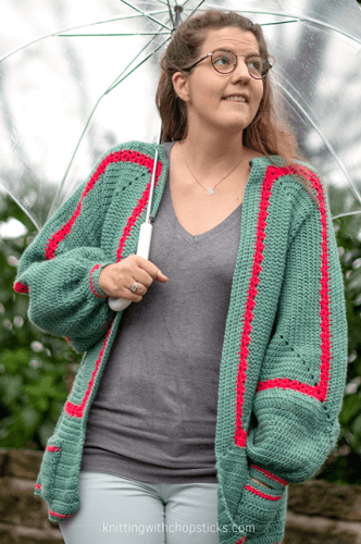 Mathilda Easy Crochet Cardigan Pattern by Knitting With Chopsticks