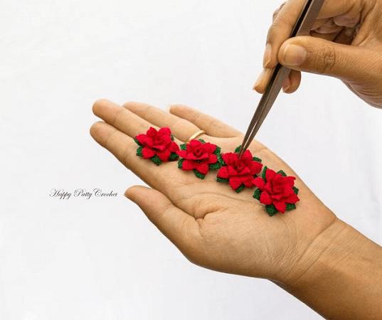 Mini Crochet Poinsettia Pattern by Happy Patty Crochet