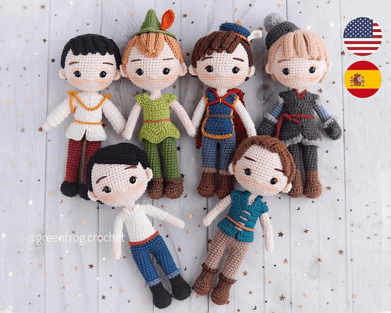 Prince And Boy Crochet Dolls Pattern by Green Frog Crochet