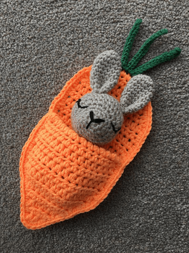 Rabbit In A Carrot Sleeping Bag Crochet Pattern by Lau Loves Crochet