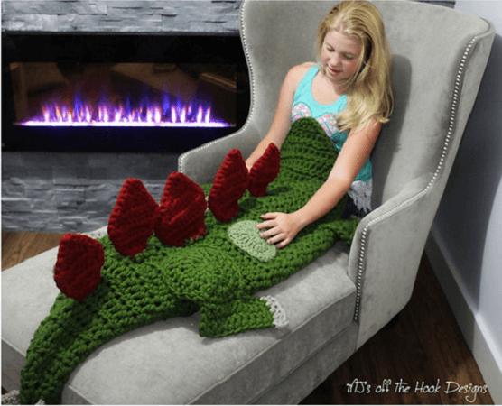 Stegosaurus Dinosaur Blanket Crochet Pattern by MJs Off The Hook Designs