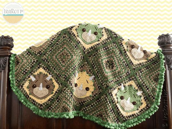 Tops, The Triceratops Dinosaur Blanket Crochet Pattern by Ira Rott Patterns