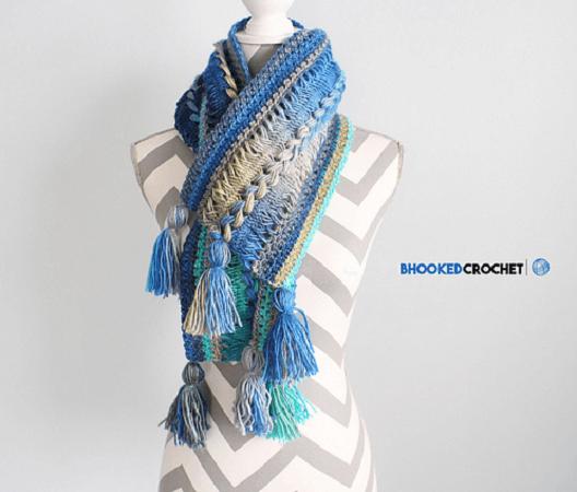 Waves Hairpin Lace Crochet Scarf Pattern by B.Hooked Crochet