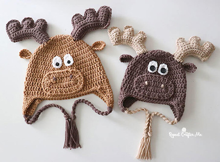 Crochet Moose Hat By Repeat Crafter Me