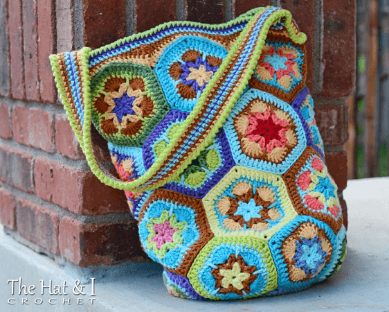 African Flower Tote Bag Crochet Pattern by The Hat And I