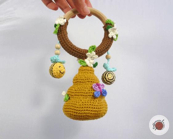 Amigurumi Beehive Baby Rattle Crochet Pattern by Raffamusa Designs