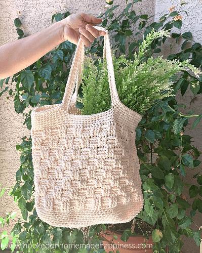 Basketweave Crochet Market Bag Pattern by Hooked Homemade Happy