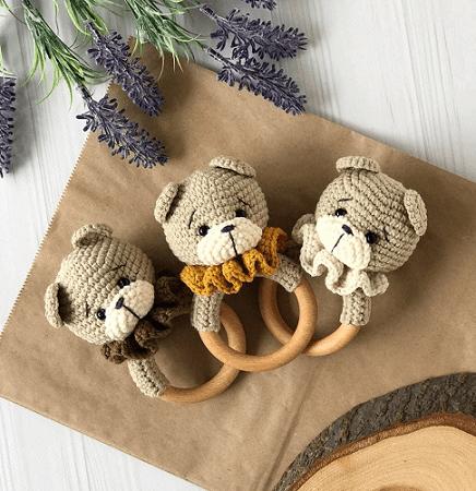 Bear Baby Rattle Crochet Pattern by Amiguroom Toys