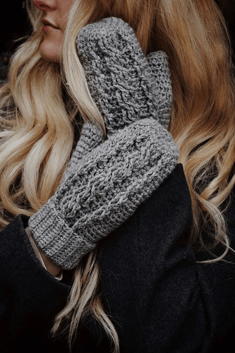 Cable Crochet Mittens Pattern by Darling Jadore