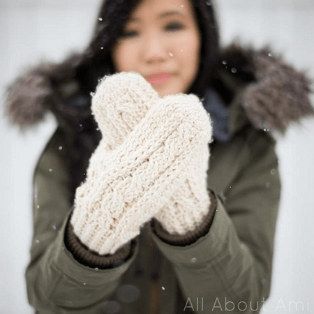 Cabled Mittens Crochet Pattern by All About Ami