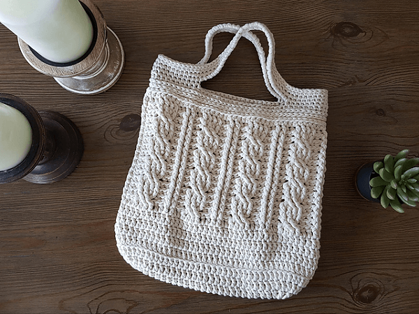 Cabled Tote Bag Crochet Pattern by Emily Martin