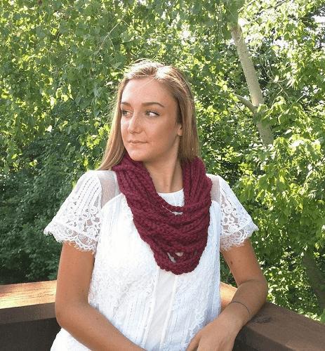 Chain Scarf Necklace Crochet Pattern by Dottie Q