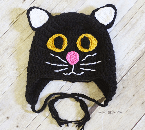 Crochet Black Cat Hat Pattern by Repeat Crafter Me
