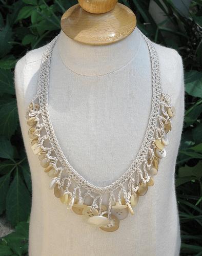 Crochet Button Necklace Pattern by Doll Dress Maker