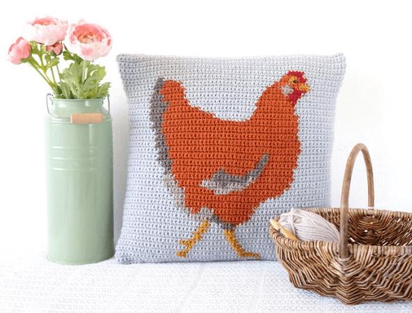 Crochet Chicken Cushion Pattern by Little Doolally