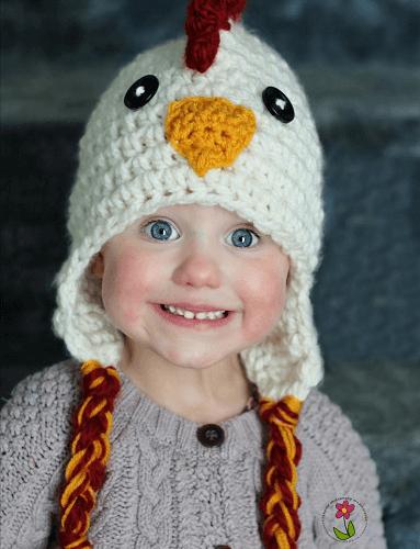 Crochet Chicken Hat Pattern by Thymeline