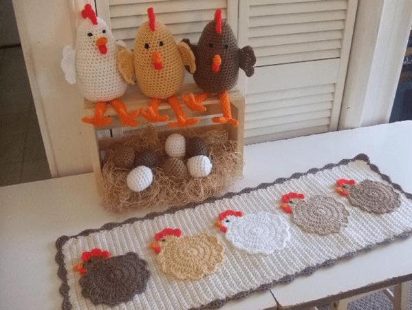 Crochet Chickens Table Runner Pattern by Crochet Village