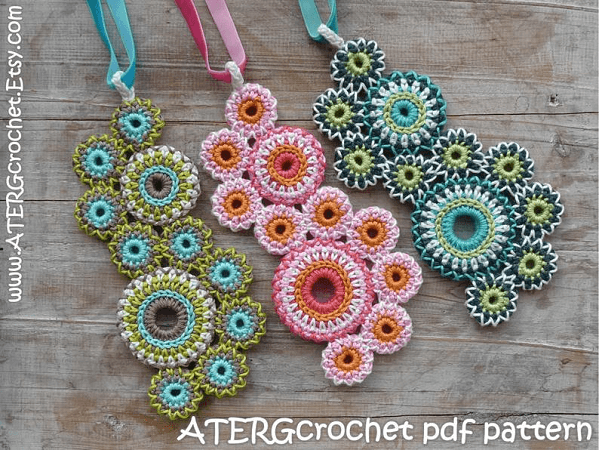 Crochet Circles Of Life Necklace Pattern by Aterg Crochet