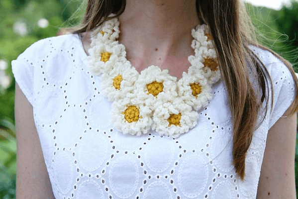 Crochet Daisy Chain Necklace Pattern by Caught On A Whim