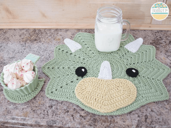 Crochet Dinosaur Placemat Pattern by Ira Rott Patterns