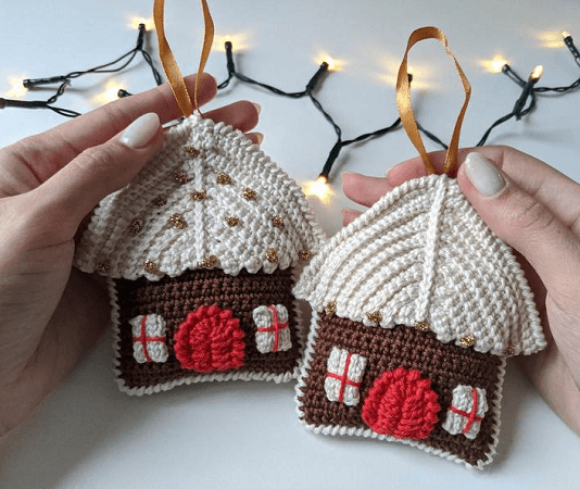 Crochet Gingerbread House Amigurumi Pattern by Knitted Story Bears