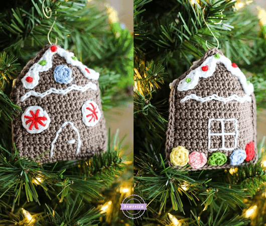 Crochet Gingerbread House Christmas Ornament Pattern by Sewrella